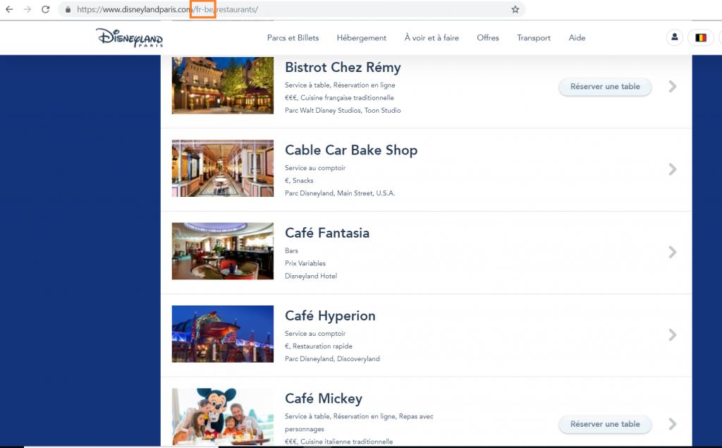 Restaurant Disneyland Paris site belge